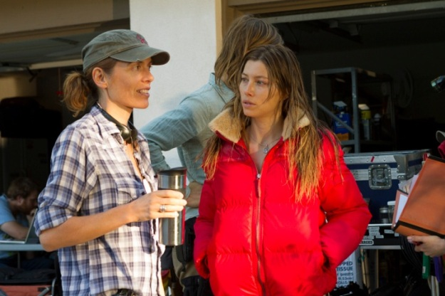 Inaugural Coffee with Creatives interviewee Diane Bell, on the set of her film Bleeding Heart, with Jessica Biel.
