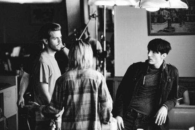 Collin on set, with lead actors David Dastmalchian (also the film's writer) and Kim Shaw.